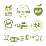 Κατάλληλος για το χορτοφάγο Σχετικές με το Vegan ετικέτες καθορισμένες Διανυσματική εκλεκτής ποιότητας απεικόνιση Στοκ φωτογραφία με δικαίωμα ελεύθερης χρήσης