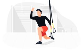 Κατάλληλο άτομο που επιλύει στο trx που κάνει bodyweight τις ασκήσεις Δύναμη ικανότητας που εκπαιδεύει workout διανυσματική απεικόνιση