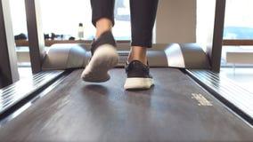 Κατάλληλο φίλαθλο επιχειρησιακών γυναικών στο smartphone jogging treadmill απόθεμα βίντεο