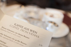 Κατάλογος επιλογής καφέ της Βιέννης Στοκ Εικόνες