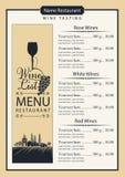 Κατάλογος κρασιού με το γυαλί, τα σταφύλια και το τοπίο κρασιού Στοκ Φωτογραφίες