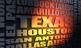 Κατάλογος κρατικών πόλεων του Τέξας διανυσματική απεικόνιση