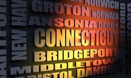 Κατάλογος πόλεων του Κοννέκτικατ διανυσματική απεικόνιση