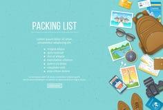 Κατάλογος συσκευασίας, προγραμματισμός ταξιδιού Προετοιμαμένος για τις διακοπές, ταξίδι, ταξίδι, ταξίδι Αποσκευές, τουριστικός οδ διανυσματική απεικόνιση