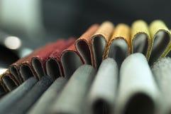 Κατάλογος του πολύχρωμου υφάσματος από matting το υπόβαθρο σύστασης υφάσματος, σύσταση υφάσματος μεταξιού, υπόβαθρο βιομηχανίας κ Στοκ Φωτογραφία
