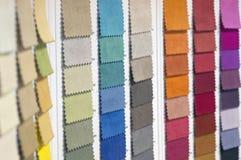 Κατάλογος του πολύχρωμου υφάσματος από matting το υπόβαθρο σύστασης υφάσματος, σύσταση υφάσματος μεταξιού, υπόβαθρο βιομηχανίας κ Στοκ Εικόνες