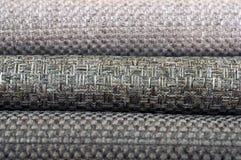 Κατάλογος του πολύχρωμου υφάσματος από matting το υπόβαθρο σύστασης υφάσματος, σύσταση υφάσματος μεταξιού, υπόβαθρο βιομηχανίας κ Στοκ Εικόνα