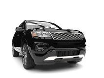 Κατάμαυρο σύγχρονο SUV - πυροβολισμός κινηματογραφήσεων σε πρώτο πλάνο μπροστινής άποψης διανυσματική απεικόνιση