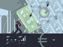 Κατάρρευση και πτώση της τράπεζας διανυσματική απεικόνιση