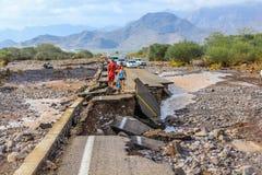 Κατάρρευση της οδού μετά από την τροπική θύελλα Juliette, Μεξικό, στις 28 Αυγούστου 2013 Στοκ φωτογραφίες με δικαίωμα ελεύθερης χρήσης