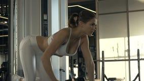 Κατάρτιση γυναικών ικανότητας με την ανύψωση των αλτήρων βαρών στη σύγχρονη λέσχη υγείας απόθεμα βίντεο