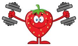 Κατάρτιση χαρακτήρα κινουμένων σχεδίων φρούτων φραουλών χαμόγελου με τους αλτήρες απεικόνιση αποθεμάτων