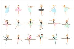 Κατάρτιση Ballerinas στο σύνολο κατηγορίας χορού οριζόντια απλουστευμένων παιδαριωδών χαριτωμένων διανυσματικών απεικονίσεων ύφου διανυσματική απεικόνιση