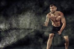 Κατάρτιση CrossFit σχοινιά Στοκ φωτογραφίες με δικαίωμα ελεύθερης χρήσης