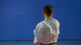Κατάρτιση Kata που εκτελείται από έναν επαγγελματία πολεμικών τεχνών στο dojo απόθεμα βίντεο