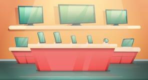 Κατάστημα ηλεκτρονικής κινούμενων σχεδίων με τους υπολογιστές και τα τηλέφωνα ελεύθερη απεικόνιση δικαιώματος