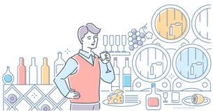 Κατάστημα κρασιού - σύγχρονη απεικόνιση ύφους σχεδίου γραμμών ελεύθερη απεικόνιση δικαιώματος