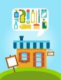 Κατάστημα με τη συλλογή των διαφορετικών οικιακών χημικών ουσιών και των καθαρίζοντας προμηθειών Στοκ Εικόνες