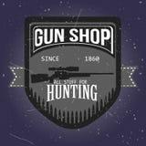Κατάστημα πυροβόλων όπλων logotypes και διανυσματικό σύνολο διακριτικών Στοκ εικόνα με δικαίωμα ελεύθερης χρήσης