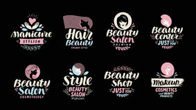 Κατάστημα, σαλόνι, καλλυντικό ή makeup λογότυπο ομορφιάς Χειρόγραφος σε ένα όμορφο καλλιγραφικό κείμενο απεικόνιση αποθεμάτων