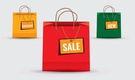 Κατάστημα, τσάντες εγγράφου αγορών και έμβλημα σε το Στοκ Εικόνα