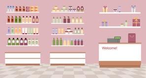Κατάστημα υγείας και ομορφιάς με τα ζωηρόχρωμα καλλυντικά προϊόντα στα πλαστικά μπουκάλια στα ράφια Στοκ φωτογραφίες με δικαίωμα ελεύθερης χρήσης