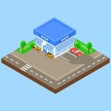 Κατάστημα υπαίθριο με το χώρο στάθμευσης και το αυτοκίνητο, Στοκ φωτογραφία με δικαίωμα ελεύθερης χρήσης