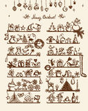 Κατάστημα Χριστουγέννων, σχέδιο σκίτσων για το σχέδιό σας Στοκ εικόνα με δικαίωμα ελεύθερης χρήσης