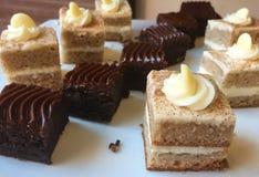 Κατάταξη κέικ καρότων και κέικ σοκολάτας Στοκ Φωτογραφίες