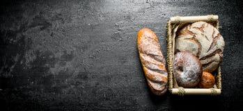 Κατάταξη των διαφορετικών τύπων ψωμιών στο καλάθι στοκ φωτογραφίες με δικαίωμα ελεύθερης χρήσης