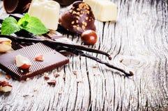 Κατάταξη των λεπτών σοκολατών και των πραλινών με τη φρέσκια μέντα και το β Στοκ εικόνες με δικαίωμα ελεύθερης χρήσης