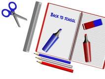Κατάταξη των σχολικών προμηθειών στο άσπρο υπόβαθρο Στοκ Εικόνα
