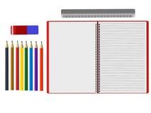 Κατάταξη των σχολικών προμηθειών στο άσπρο υπόβαθρο Στοκ φωτογραφίες με δικαίωμα ελεύθερης χρήσης