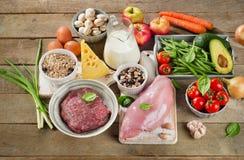 Κατάταξη των φρέσκων λαχανικών και των κρεάτων για την υγιεινή διατροφή στο wo στοκ φωτογραφία με δικαίωμα ελεύθερης χρήσης