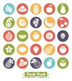 Κατάταξη φρούτων γύρω από το διανυσματικό σύνολο εικονιδίων χρώματος διανυσματική απεικόνιση