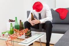 Κατάχρηση οινοπνεύματος κατά τη διάρκεια της περιόδου διακοπών Στοκ Εικόνες