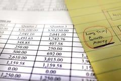 Κατάλογος ή διάγραμμα της αύξησης πλούτου επενδύσεων χρημάτων Στοκ Εικόνες