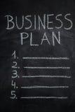 Κατάλογος επιχειρηματικών σχεδίων σχετικά με το μαύρο πίνακα κιμωλίας Στοκ φωτογραφία με δικαίωμα ελεύθερης χρήσης