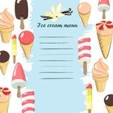 Κατάλογος επιλογής παγωτού Στοκ Φωτογραφίες