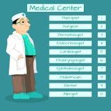 Κατάλογος ιατρικών ειδικών Σχέδιο των διαφορετικών γιατρών στο κέντρο υγείας Στοκ Εικόνα