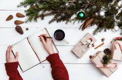 κατάλογος δώρων για τα Χριστούγεννα και τα νέα έτη Στοκ φωτογραφία με δικαίωμα ελεύθερης χρήσης