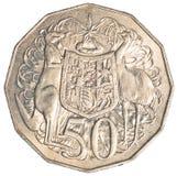 Κατά το ήμισυ αυστραλιανό νόμισμα δολαρίων Στοκ Εικόνες