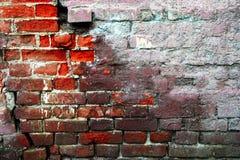 Κατά το ήμισυ επικονιασμένος στενοχωρημένος τοίχος φιαγμένος από κόκκινα τούβλα στοκ φωτογραφία με δικαίωμα ελεύθερης χρήσης