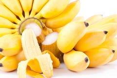 Κατά το ήμισυ ξεφλουδισμένα μπανάνα αυγών και χέρι δύο των χρυσών μπανανών στα άσπρα τρόφιμα φρούτων μπανανών MAS Pisang υποβάθρο Στοκ Φωτογραφία