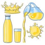 Καταβρέχοντας και χύνοντας κίτρινος χυμός λεμονιών στο μπουκάλι, γυαλί, κανάτα διανυσματική απεικόνιση
