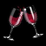 καταβρέχοντας κρασί ζευγαριού γυαλιού Διανυσματική απεικόνιση
