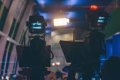 Καταγράψτε την κύρια αίθουσα τύπου newscast το βράδυ Στοκ εικόνες με δικαίωμα ελεύθερης χρήσης