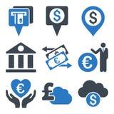 Καταθέτοντας σε τράπεζα επίπεδα εικονίδια Glyph Στοκ εικόνα με δικαίωμα ελεύθερης χρήσης