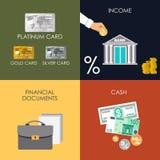 Καταθέτοντας σε τράπεζα καθορισμένα εικονίδια διανυσματική απεικόνιση
