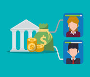 καταθέτοντας σε τράπεζα ψηφιακά χρήματα και νομίσματα χαρακτήρα απεικόνιση αποθεμάτων